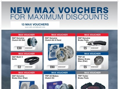 New Max Card Parts Discounts Available 1st November to 28th February 2019